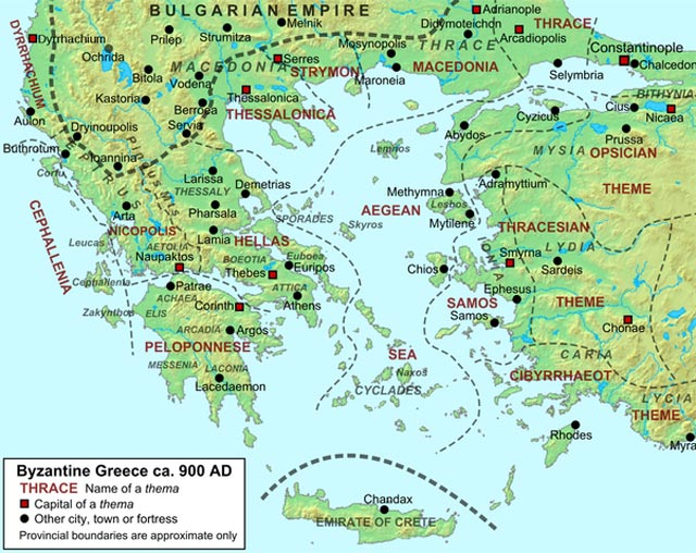 Map of Byzantium in 900 A.D. byzantium.filminspector.com