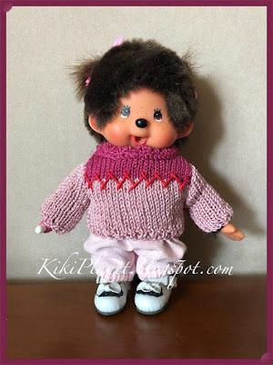 kiki monchhichi doll poupée tricot  knitting handmade fait main pull vêtement