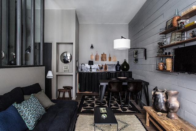 Tiny studio in dark tones in Lyon by Maison Hand