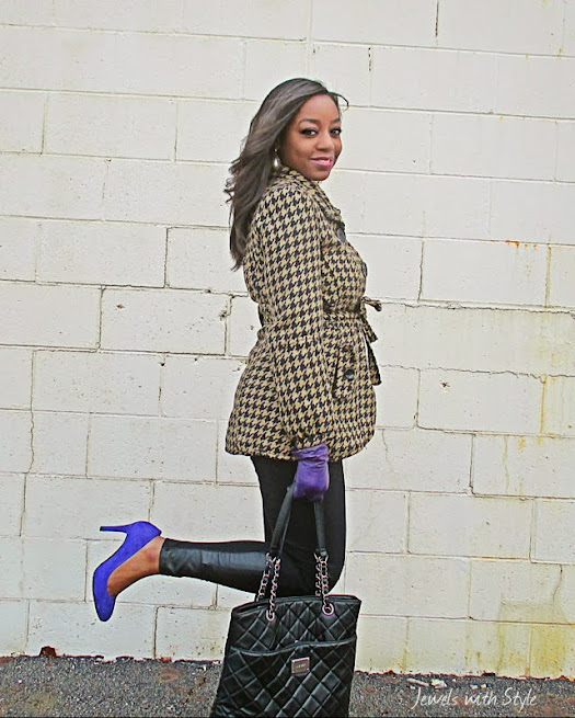 houndstooth coat, H&M leggings, leather leggings, Nine West pumps, purple pumps, black fashion blogger, style blog, Jewels with Style