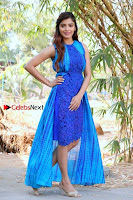 Tamil Actress Sanchita Shetty Latest Pos in Blue Dress at Yenda Thalaiyila Yenna Vekkala Audio Launch  0027.jpg