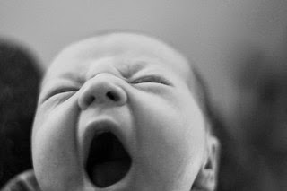 Photograph of newborn baby yawning