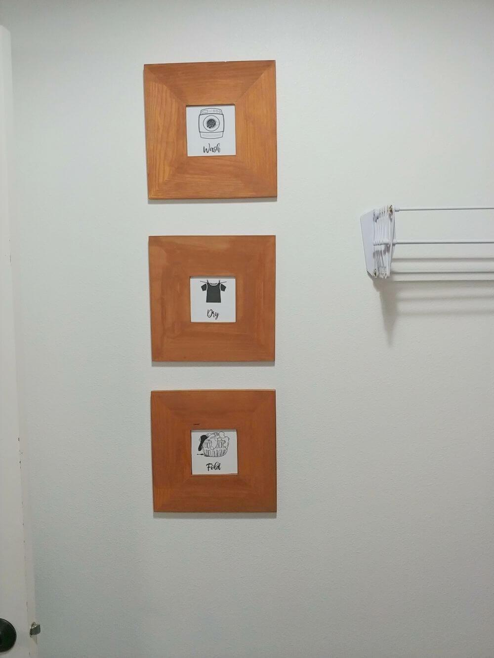Laundry Room Art with Repurposed IKEA Mirrors