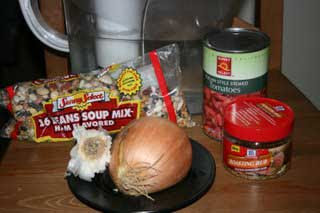 The ingredients you need to make 16 bean or calico bean soup in the crockpot slow cooker