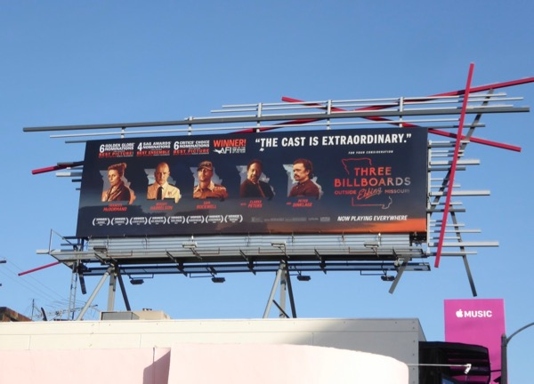 Three Billboards awards nominee ad