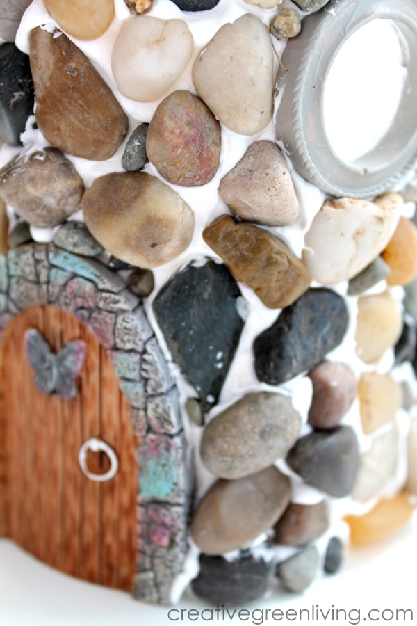 Mod Podge collage clay fairy house idea
