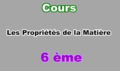 Cours Propriétés de la Matière 6eme en PDF