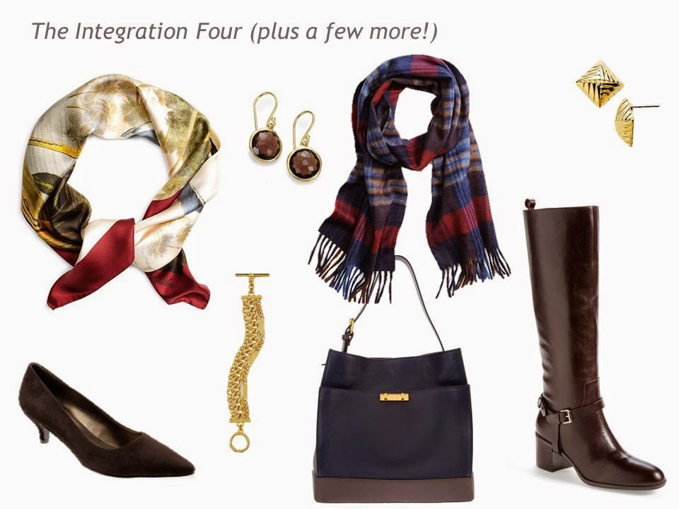 The Integration Four + accessories: shoes, jewelry, scarves and a bag