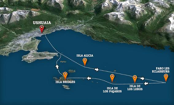 Mapa de la excursion por el canal Beagle. Ushuaia. Argentina