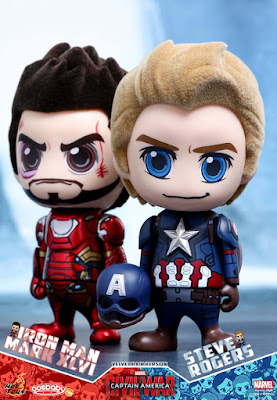 Captain America Civil War Velvet Hair Edition Captain America & Iron Man Cosbaby Vinyl Figure Bobble Head Box Set by Hot Toys