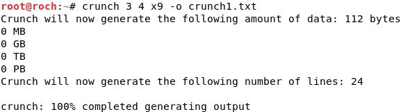Whitelist: Password wordlist generation with CRUNCH