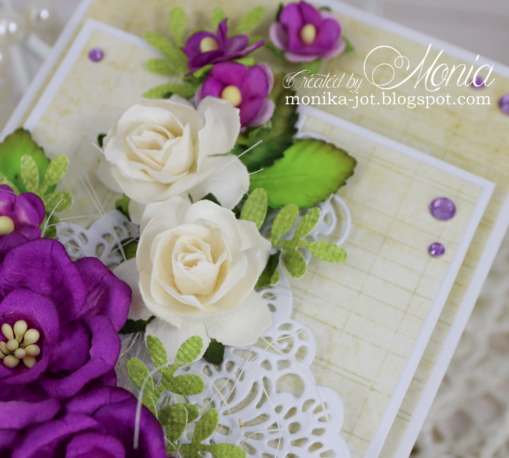Wild orchid crafts january 2017 added white cottage roses and two kind of leaves i also used some purple sweetheart blossoms and lots of self adhesive rhinestones to make my flower izmirmasajfo