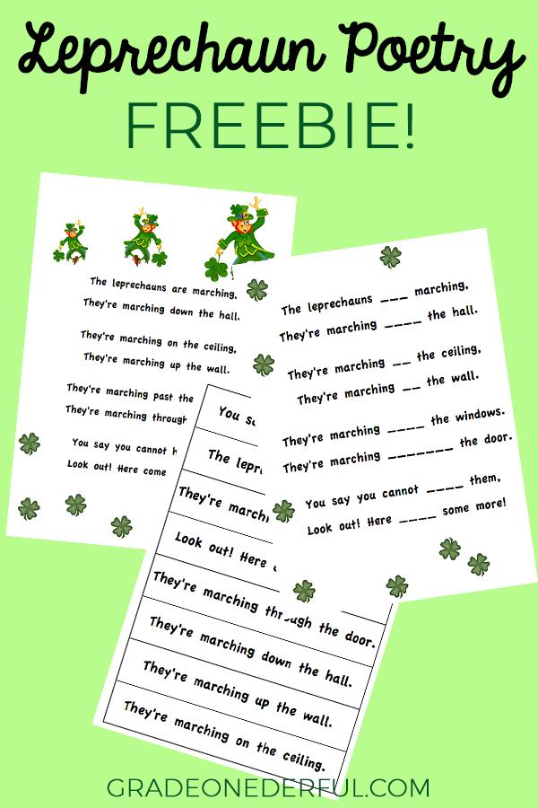 Leprechaun poem for first grade. Free printable.