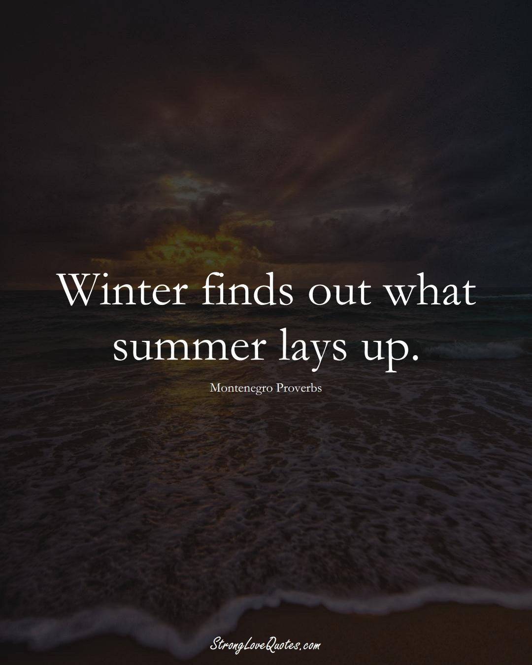 Winter finds out what summer lays up. (Montenegro Sayings);  #EuropeanSayings