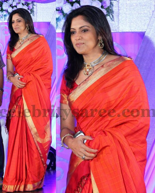 f04dc645a13d95 Nadhiya Orange Silk Saree - Saree Blouse Patterns