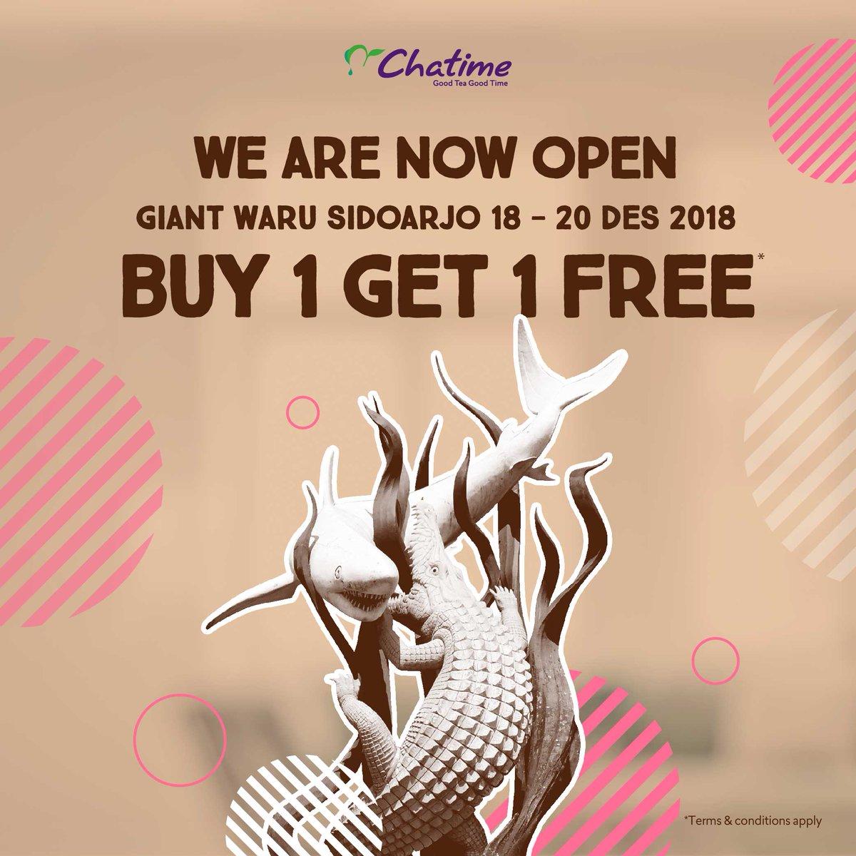 #Chatime - Promo Buy 1 Get 1 di Opening Chatime Giant Waru Sidoarjo (s.d 20 Des 2018)