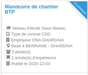 Manœuvre de chantier BTP BERRIANE - GHARDAIA