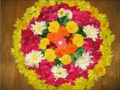 Rangoli Designs with Flowers, Fresh Flowers and Rangolis