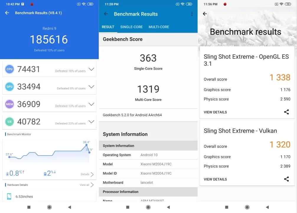 Xiaomi Redmi 9 Benchmark Scores