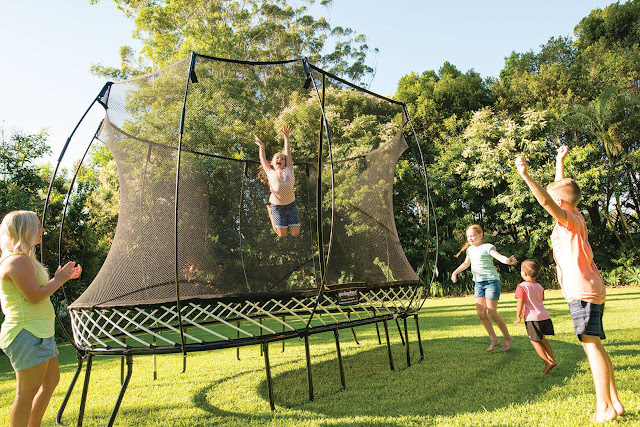 outdoor trampoline with kids