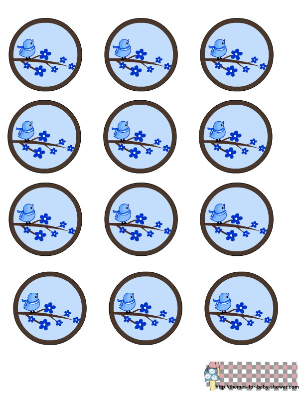 Toppers o Etiquetas para Imprimir Gratis de Pajarito Azul.