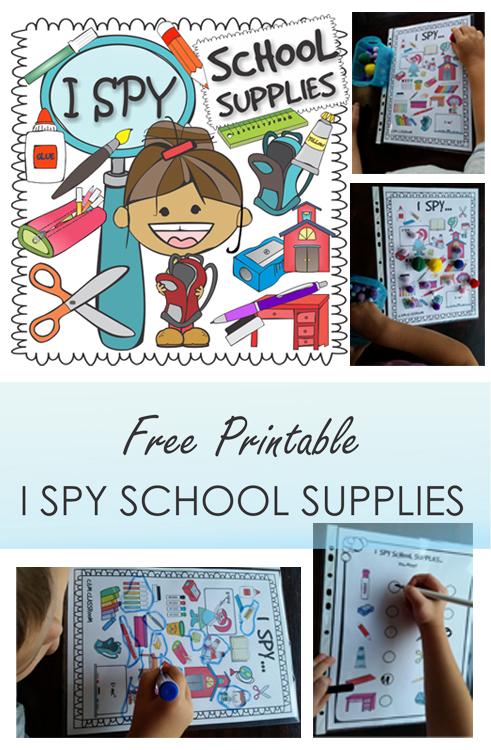 Free Printable I Spy School Supplies Poster