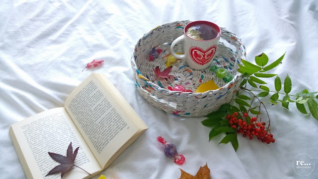 wicker paper, tray, basket, recycle, handmade, papierowa wiklina, koszyk, taca, rękodzieło