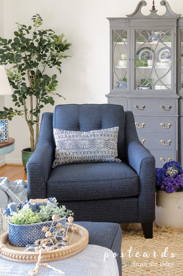 indigo blue chair and pillow
