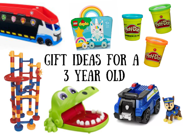 Title image introducing the blog post. The text reads 'gift ideas for a 3 year old' and surrounding the text is various gift ideas. There is a Paw Patrol Paw Patroller, A Paw Patrol Chase Figurine and Vehicle. Several pots of Play Doh, A Multi-coloured Marble Run and A Crocodile Dentist Game.