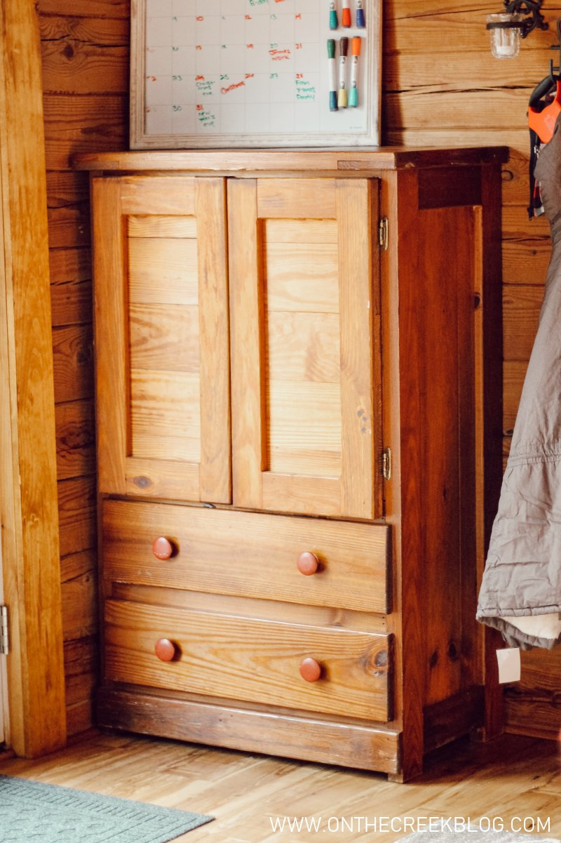 A new (old) cabinet that has been a great place to put all the things! | On The Creek Blog