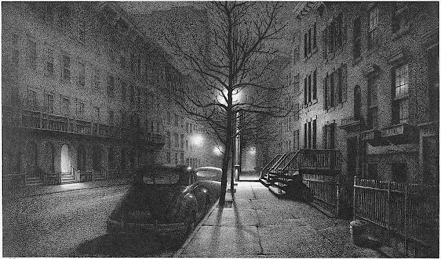 Stow Wengenroth 1947, an urban street at night