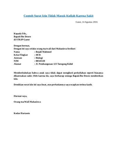 Contoh Surat Izin Tidak Masuk Kuliah (via: 123dok.com)