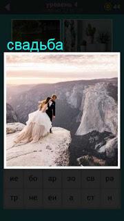 на краю обрыва стоят жених и невеста, после свадьбы решили посмотреть вниз