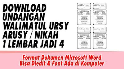Download Undangan Walimatul Arusy / Walimatul Ursy / Walimah Nikah 1 Lembar Jadi 4 Format Doc