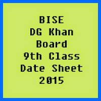 9th Class Date Sheet 2017 BISE DG Khan Board
