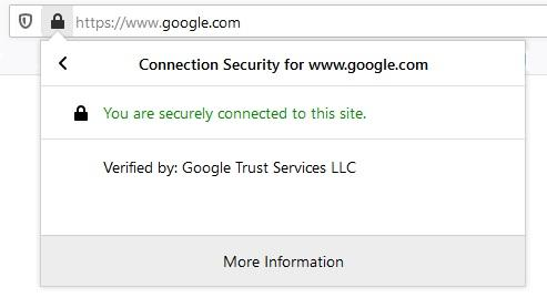 You are securely connected to this site.