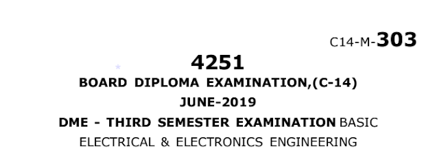 Polytechnic Diploma Basic Electrical & Electronics Engineering Previous Question papers june 2019
