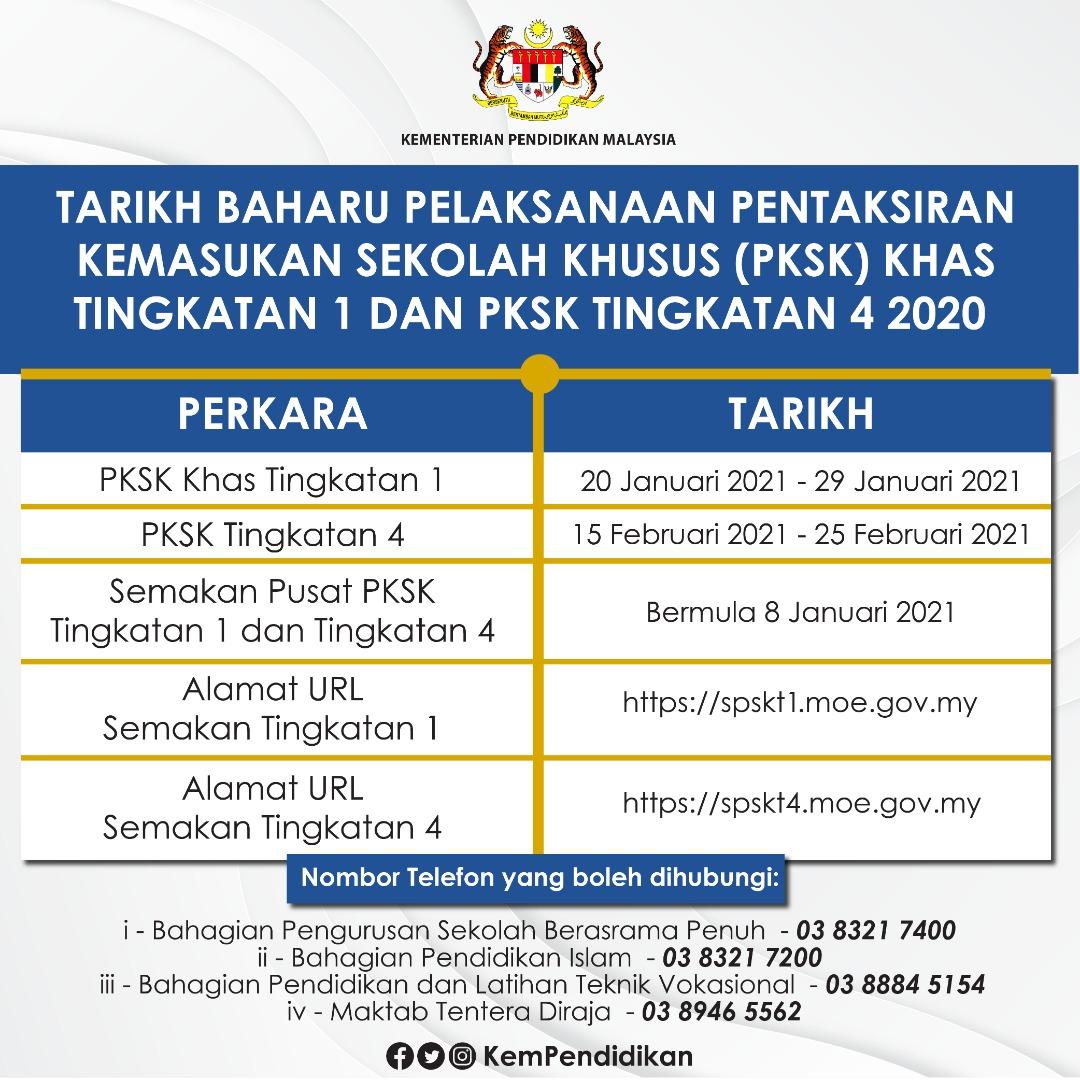 Jadual Tarikh PKSK 2021 - Tingkatan 1 dan Tingkatan 4