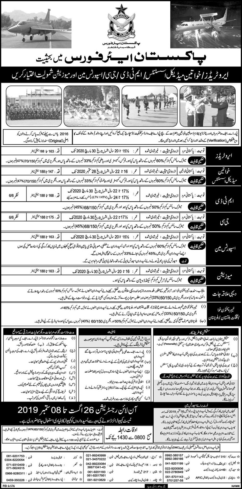 Advertisement for PAF Jobs August 2019