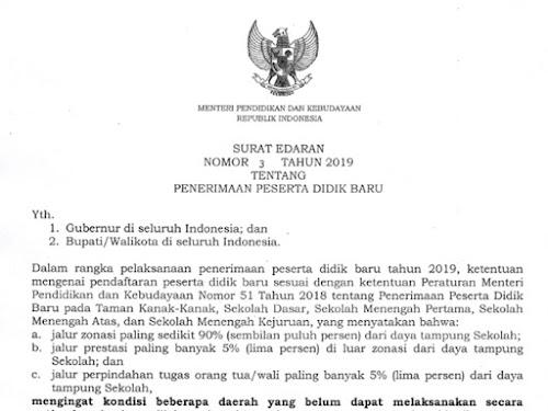 Surat Edaran Perubahan PPDB 2019