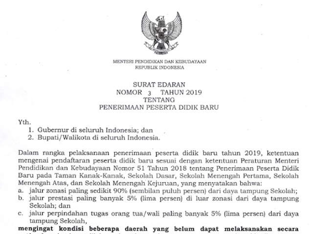 Inilah Surat Edaran Mendikbud Terkait Penyesuaian Ketentuan PPDB 2019
