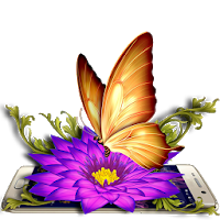 Gold Butterfly 3D Theme Apk Download for Android