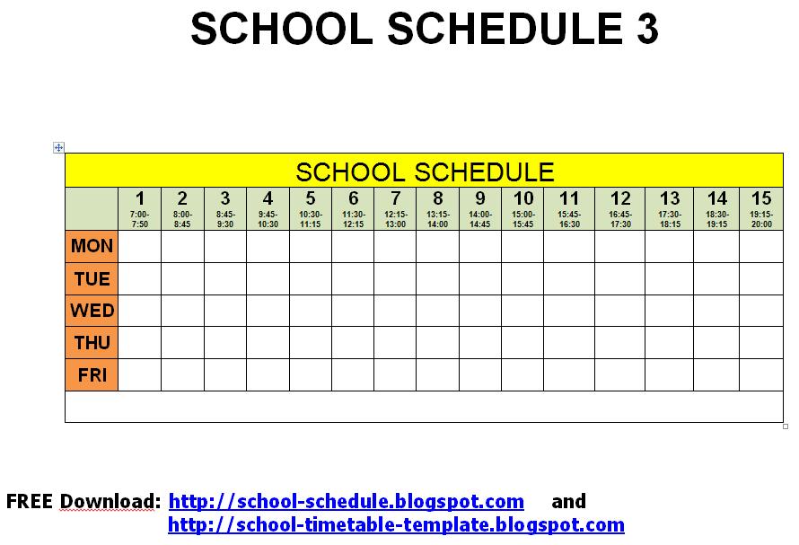 schedule for school printable template school schedule 3. Black Bedroom Furniture Sets. Home Design Ideas