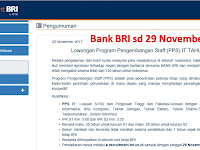 Bank BRI Program Pengembangan Staf sd 29 November 2017 Online