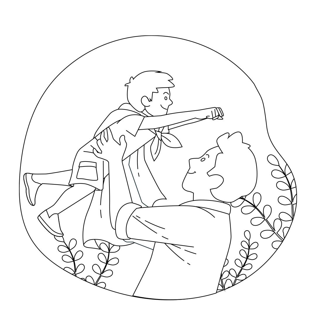 Desenho Dia dos Pais (pai com filho) para imprimir