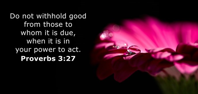 Do not withhold good from those to whom it is due, when it is in your power to act.