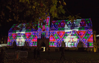 Textile projection on the museum