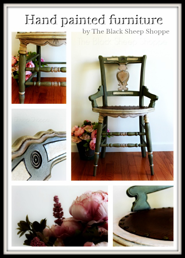 Antique chair painted in Annie Sloan Chalk Paint by The Black Sheep Shoppe.
