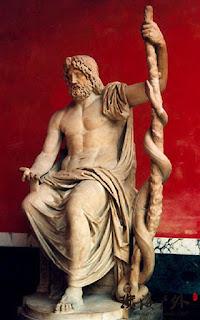 Asklepios dieu de la medecine, fils d'Apollon dieu de l'art