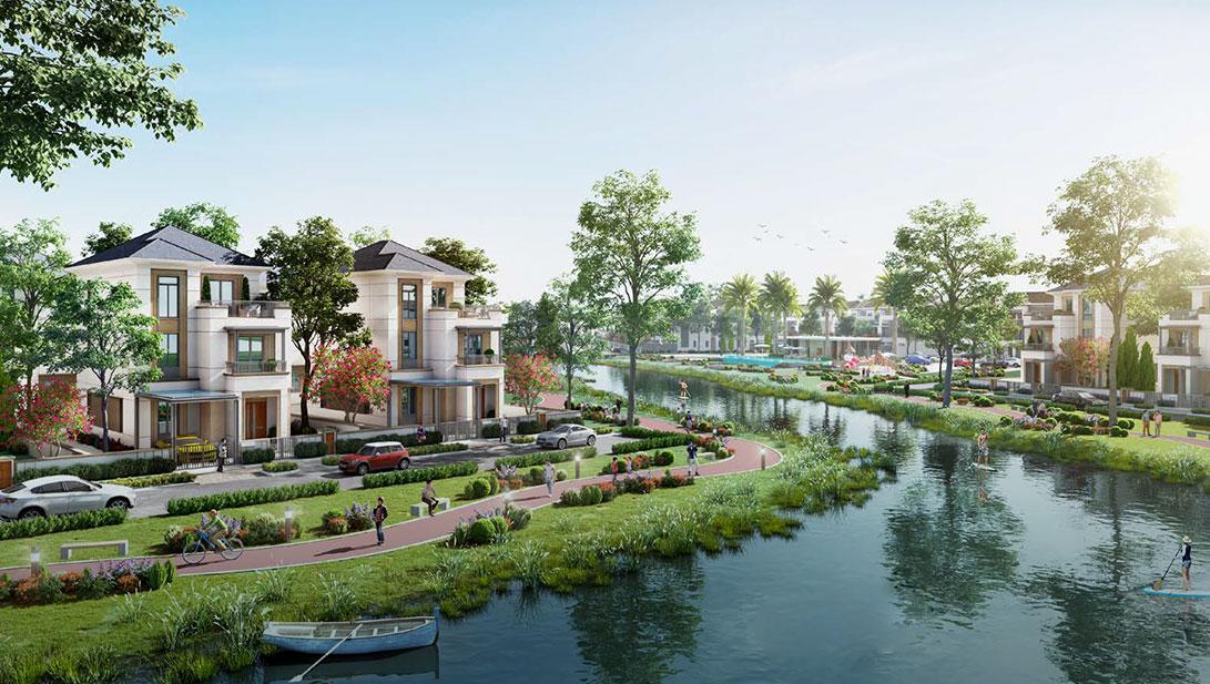 biệt thự ven sông aqua city